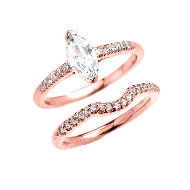 Rose Gold Dainty Marquise Cubic Zirconia Solitaire Wedding Ring Set