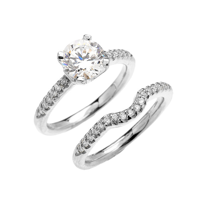 White Gold Dainty Round Cubic Zirconia Solitaire Wedding Ring Set
