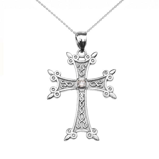 White Gold Elegant Armenian Cross Diamond Pendant
