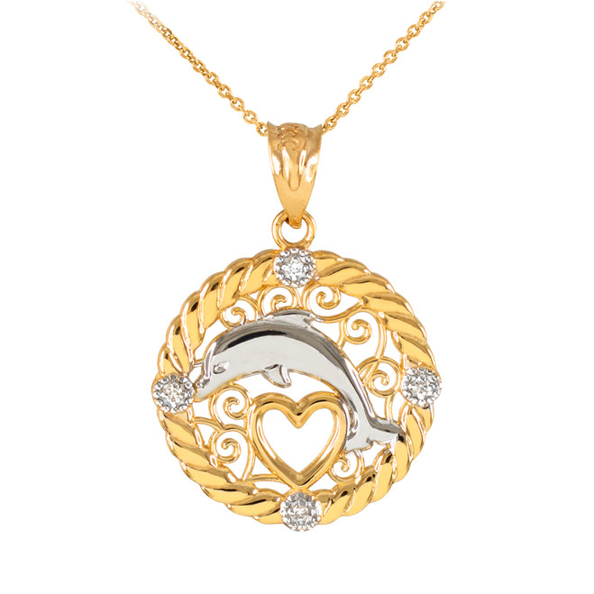 Gold Roped Circle Diamond Jumping Dolphin Heart Filigree Pendant Necklace