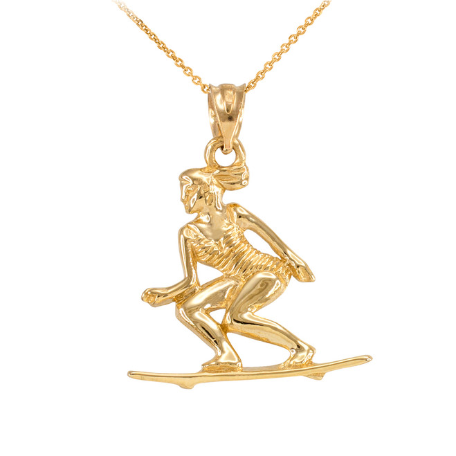 Yellow Gold Female Beach Surfer Sports Pendant Necklace