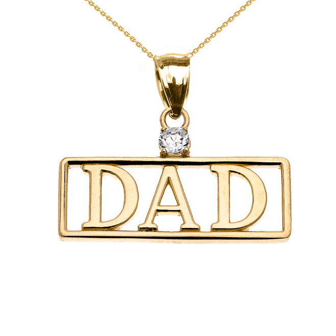 "Yellow Gold ""DAD"" Cubic Zirconia Pendant Necklace"