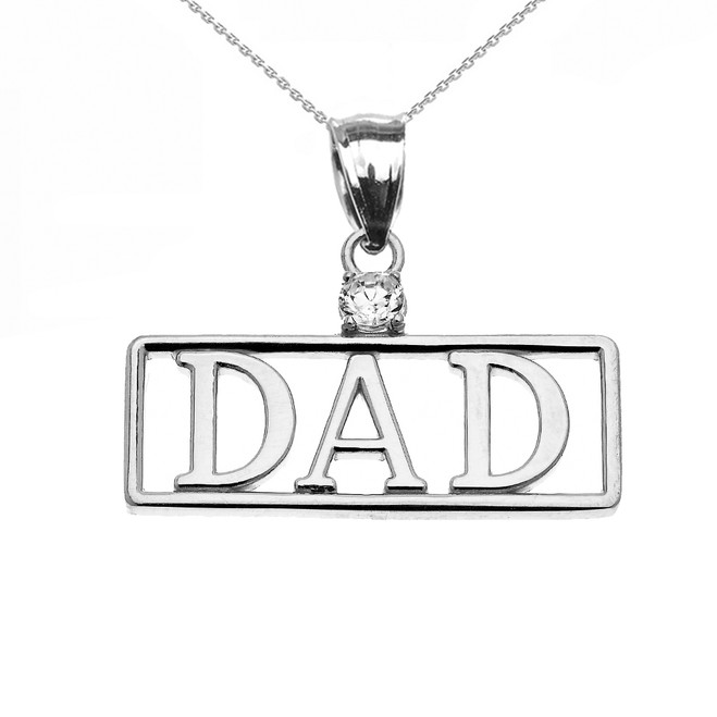 "White Gold ""DAD"" Cubic Zirconia Pendant Necklace"