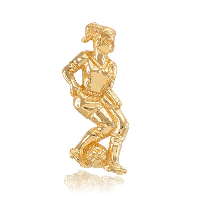 Yellow Gold Female Soccer Player Futbol Sports Pendant
