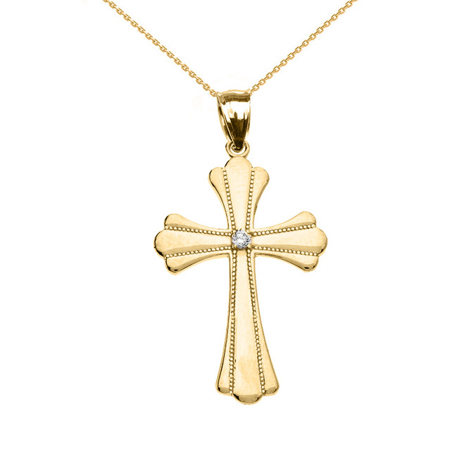 Yellow Gold Solitaire Diamond High Polish Milgrain Cross Pendant Necklace