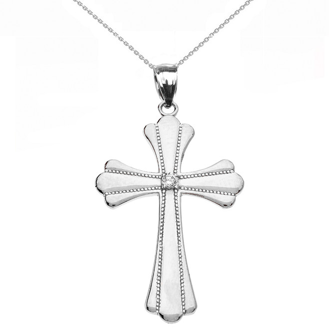 Sterling Silver Solitaire Diamond High Polish Milgrain Cross Pendant Necklace (Medium)