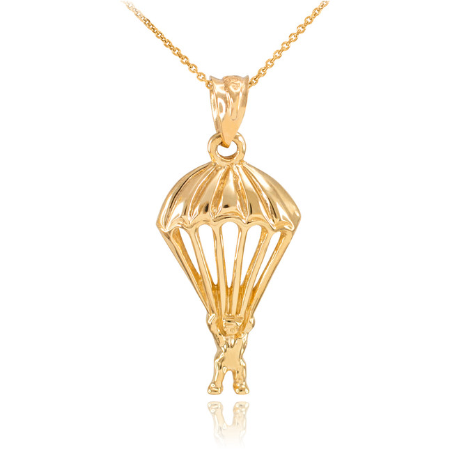 Gold Parachute Skydiving Pendant Necklace