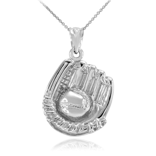 White Gold Baseball Catcher Glove Pendant Necklace