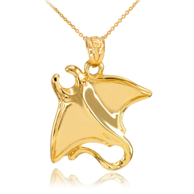 Fine Yellow Gold Sting Ray Pendant Necklace