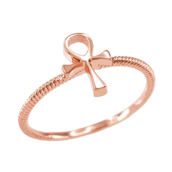 Dainty Rose Gold Egyptian Ankh Cross Ring