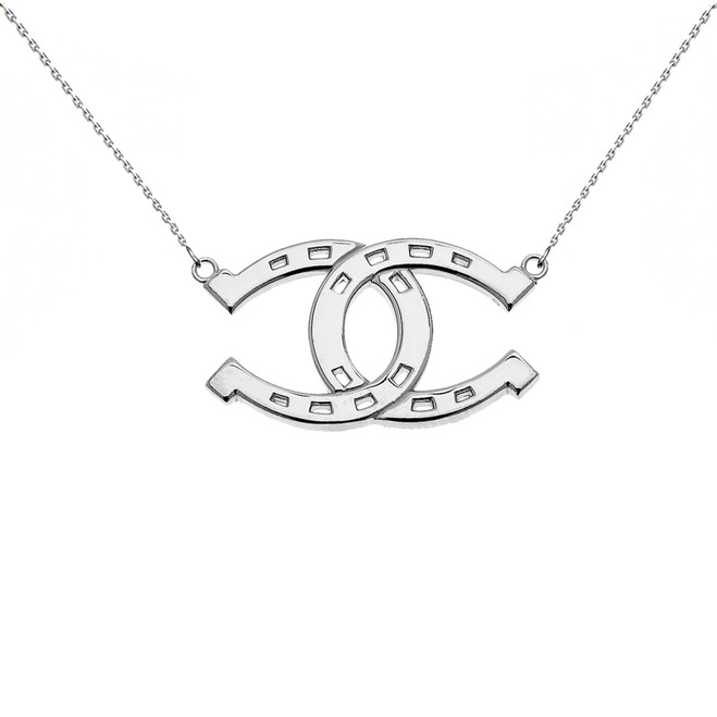 Sterling Silver Criss Cross Horse Shoe Good luck Necklace