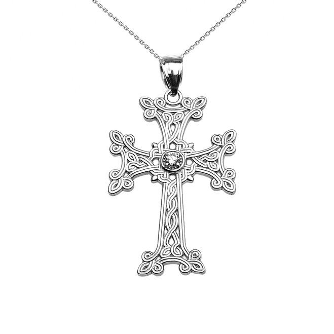 White Gold Armenian Cross Solitaire Diamond Pendant Necklace