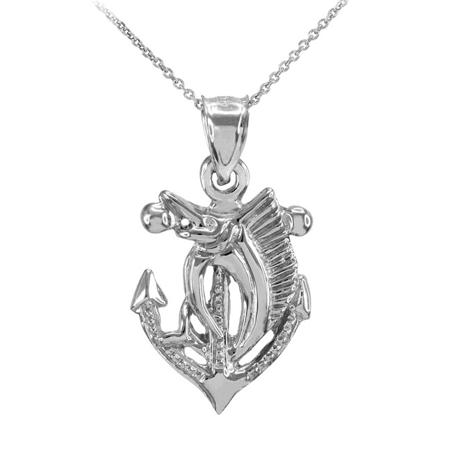 Sterling Silver Anchor Marlin Diamond Cut Pendant Necklace