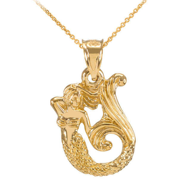 Gold Textured Fairytale Mermaid Pendant Necklace