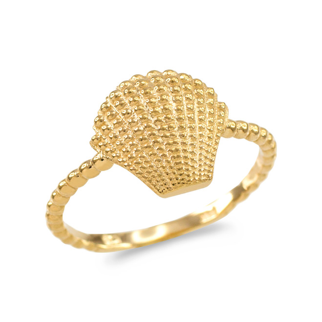 Fine Yellow Gold Beaded Band Seashell Ring