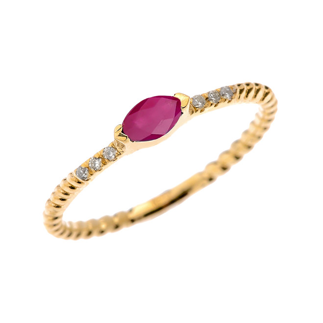 Yellow Gold Dainty Solitaire Marquise Ruby and Diamond Rope Design Engagement/Proposal/Stackable Ring