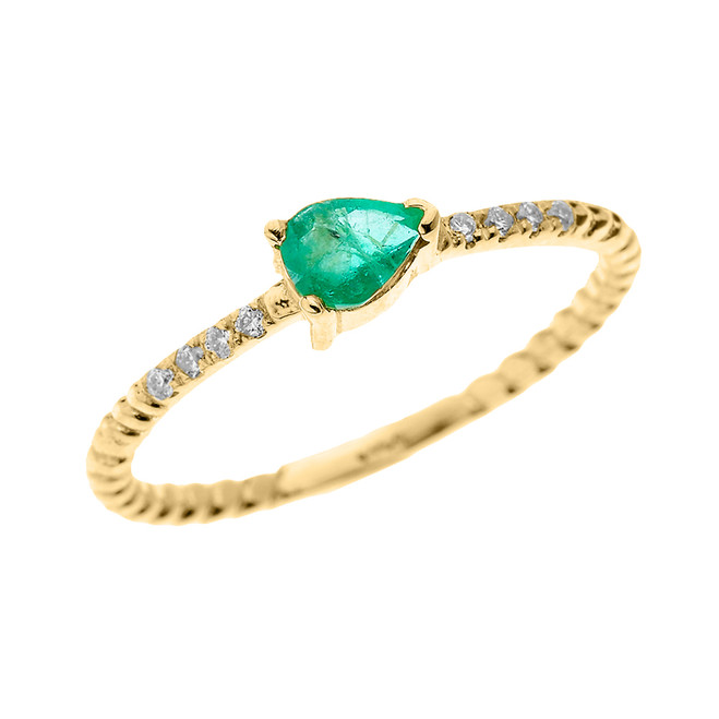 Yellow Gold Dainty Solitaire Pear Shape Lab Created Emerald and Diamond Rope Design Engagement/Proposal/Stackable Ring
