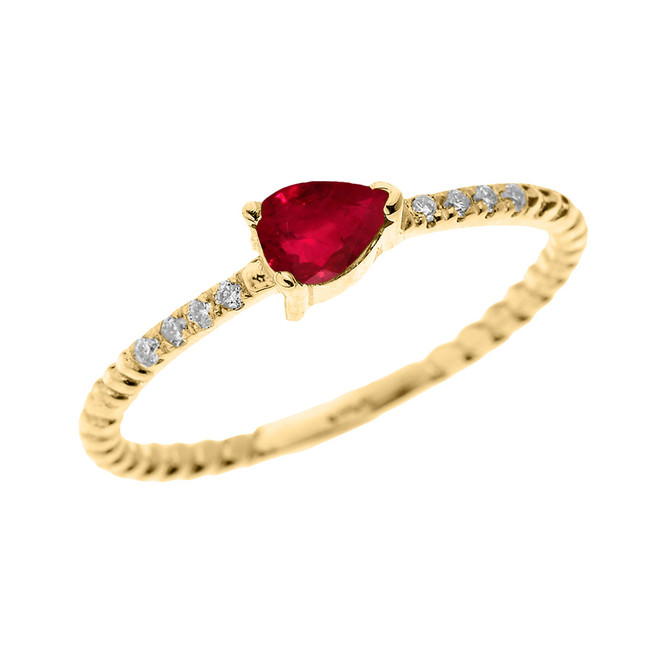 Yellow Gold Dainty Solitaire Pear Shape Ruby and Diamond Rope Design Engagement/Proposal/Stackable Ring