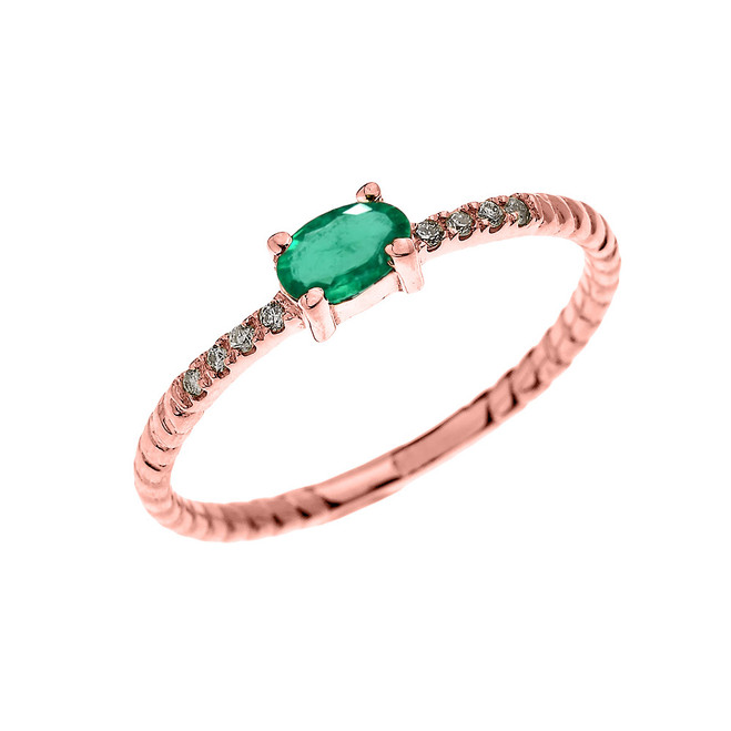 Rose Gold Dainty Solitaire Oval Emerald and Diamond Rope Design Engagement/Proposal/Stackable Ring