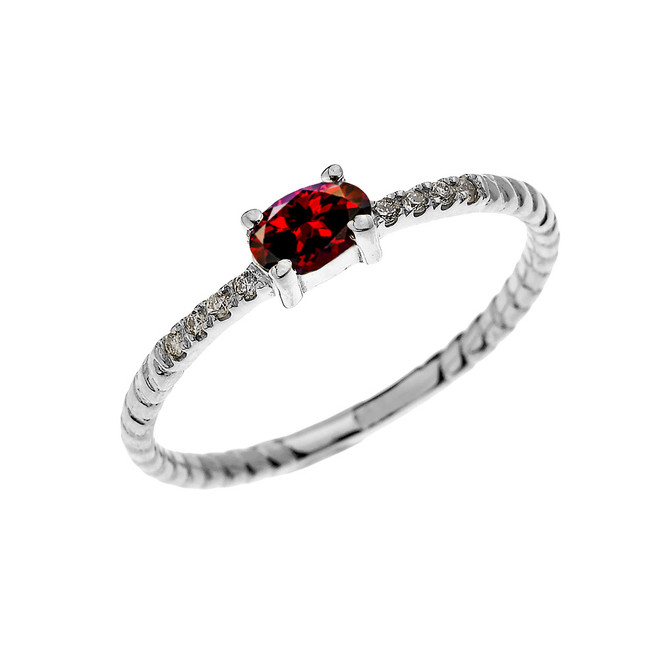 White Gold Dainty Solitaire Oval Garnet and Diamond Rope Design Engagement/Proposal/Stackable Ring