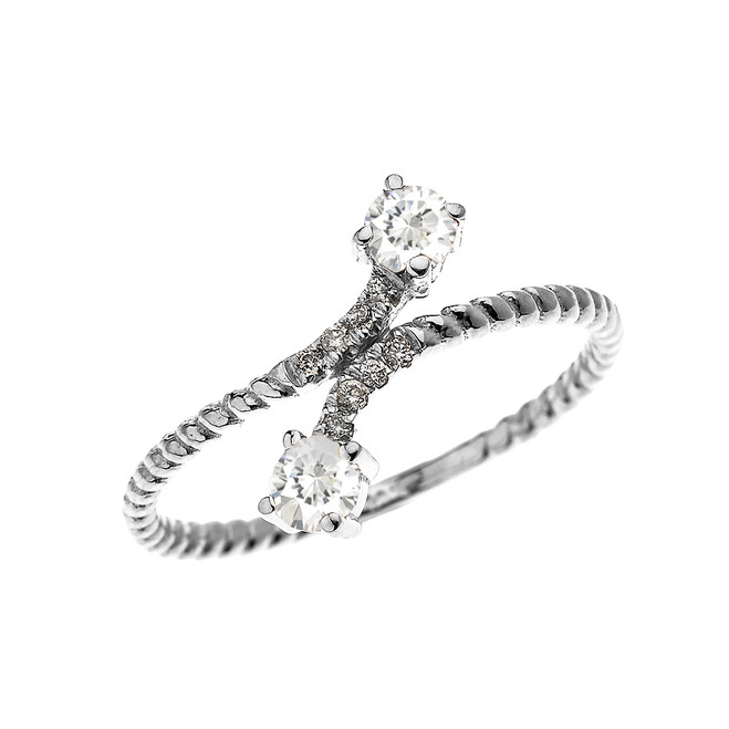White Gold Dainty Two Stone White Topaz and Diamond Rope Design Promise Ring