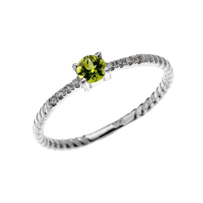 White Gold Dainty Solitaire Peridot and Diamond Rope Design Engagement/Proposal/Stackable Ring