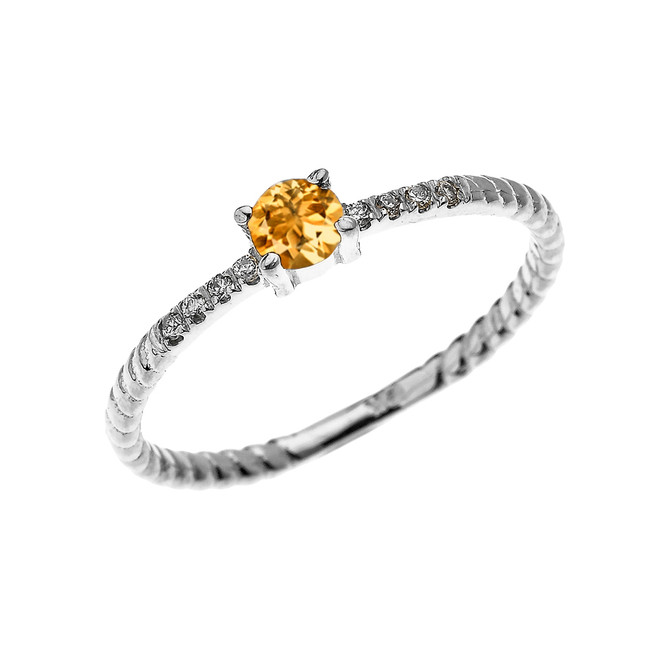 White Gold Dainty Solitaire Citrine and Diamond Rope Design Engagement/Proposal/Stackable Ring