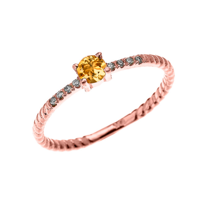 Rose Gold Dainty Solitaire Citrine and Diamond Rope Design Engagement/Proposal/Stackable Ring