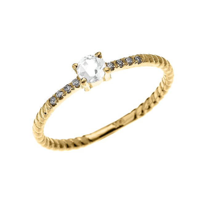 Yellow Gold Dainty Solitaire White Topaz and Diamond Rope Design Engagement/Proposal/Stackable Ring