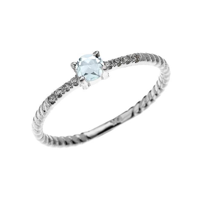 White Gold Dainty Solitaire Aquamarine and Diamond Rope Design Engagement/Proposal/Stackable Ring