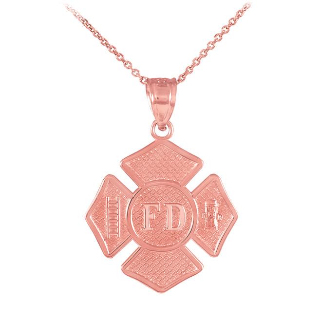 Rose Gold St Florian Medal Firefighter Badge Pendant Necklace