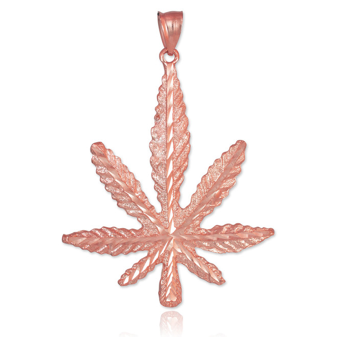 Rose Gold Cannabis Pot Charm Marijuana Leaf Pendant