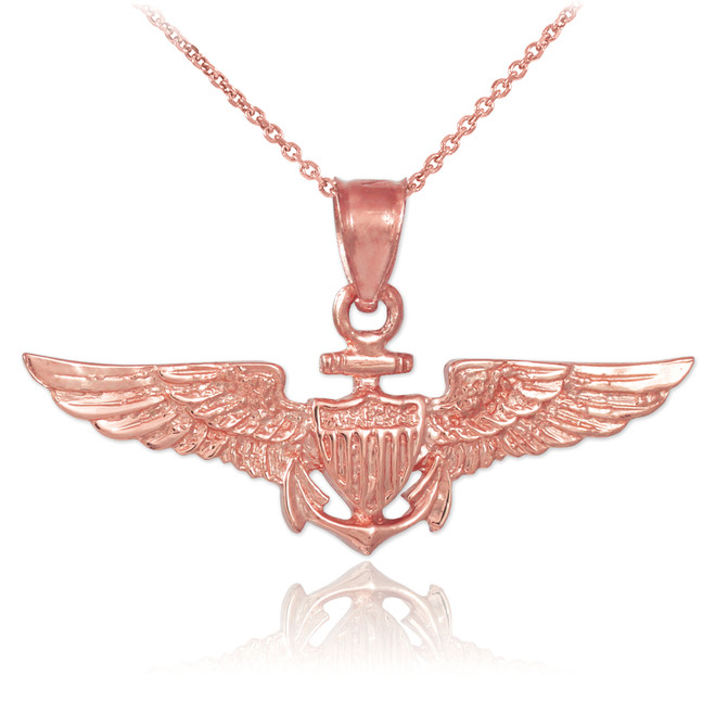 Solid Rose Gold US Naval Aviator Wings Pendant Necklace