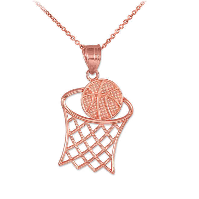 Rose Gold Textured Hoop and Basketball Charm Pendant Necklace