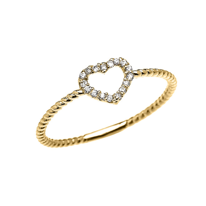 Yellow Gold Dainty Open Heart Diamond Rope Design Promise/Stackable Ring