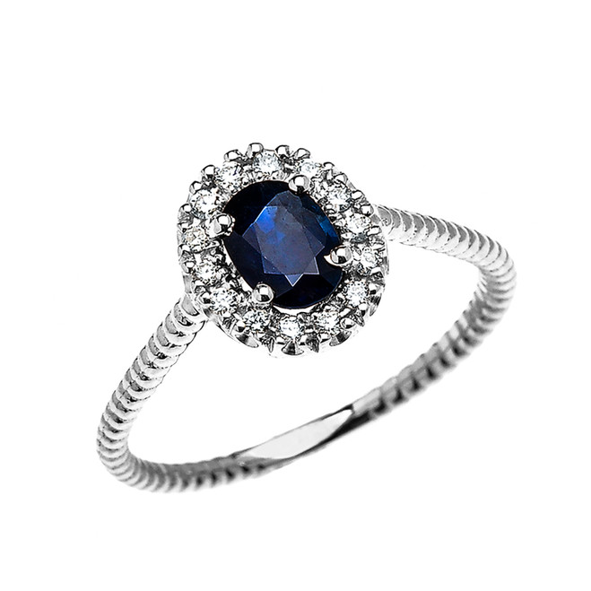 White Gold Dainty Halo Diamond and Oval Sapphire Solitaire Rope Design Engagement/Promise Ring