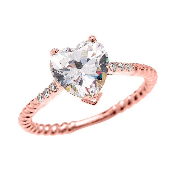 Dainty Rose Gold Diamond and 3 Carat Heart Cubic Zirconia Solitaire Rope Design Engagement Ring