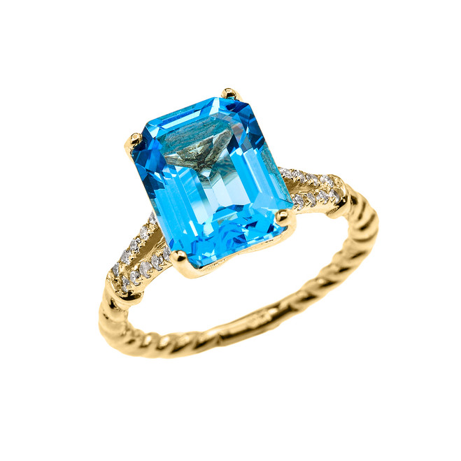 Yellow Gold Dainty Emerald Cut Blue Topaz and Diamond Solitaire Rope Design Engagement/Promise Ring