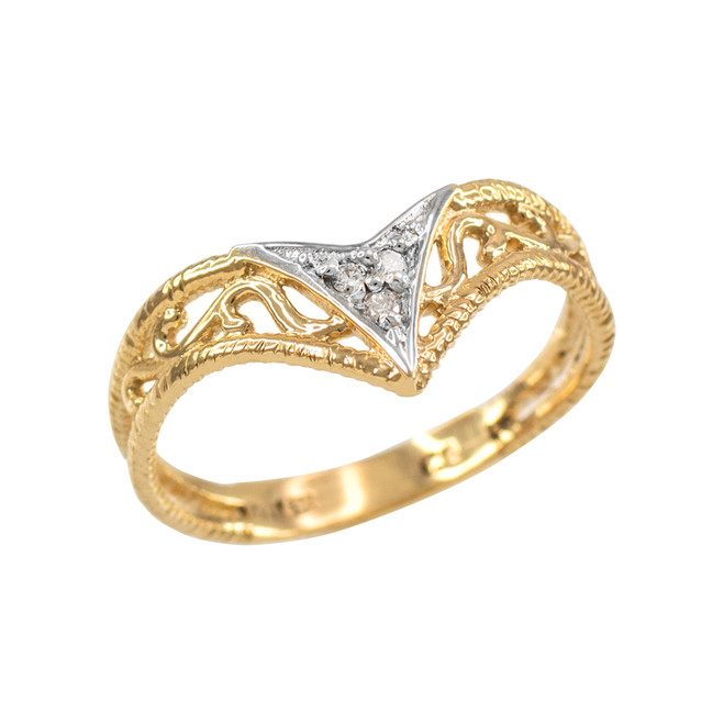 Fine Yellow Gold Filigree Chevron Diamond Ring for Women