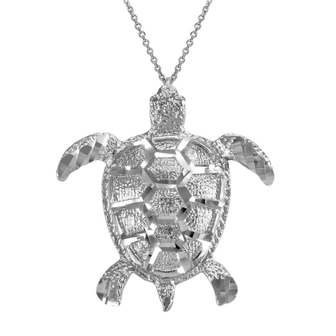 White Gold Textured Style Sea Turtle Pendant Necklace