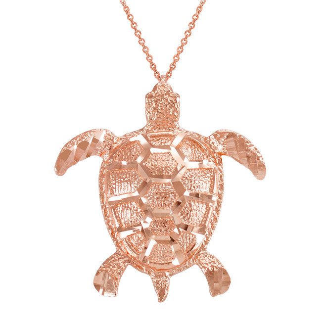 Rose Gold Textured Style Sea Turtle Pendant Necklace