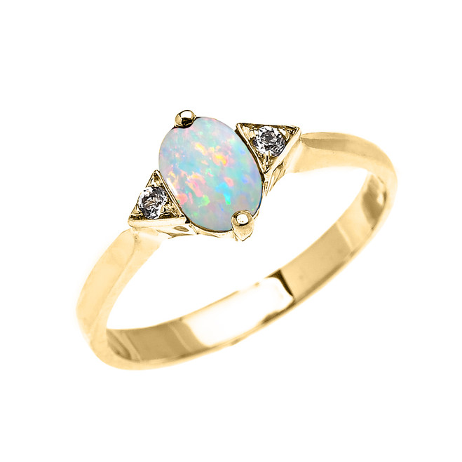 Yellow Gold Solitaire Oval Opal and White Topaz Engagement/Promise Ring