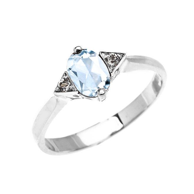 White Gold Solitaire Oval Aquamarine and White Topaz Engagement/Promise Ring