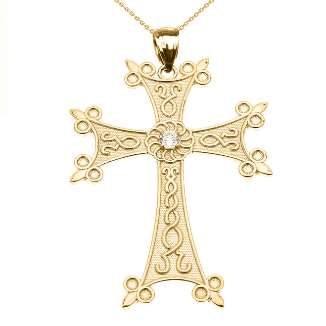 Yellow Gold Elegant Armenian Cross with Eternity Diamond Pendant Necklace (Large)
