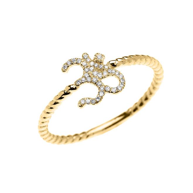 Yellow Gold Dainty Diamond OHM (OM) Ganesh Rope Design Ring