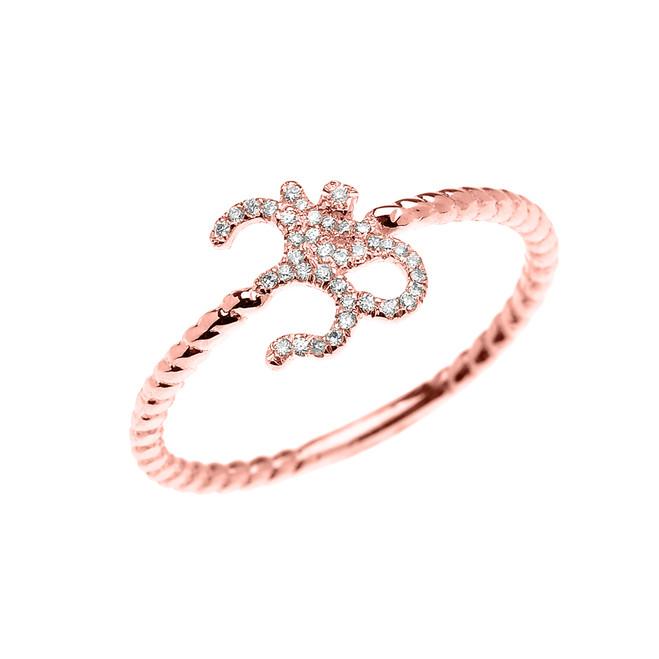 Rose Gold Dainty Diamond OHM (OM) Ganesh Rope Design Ring