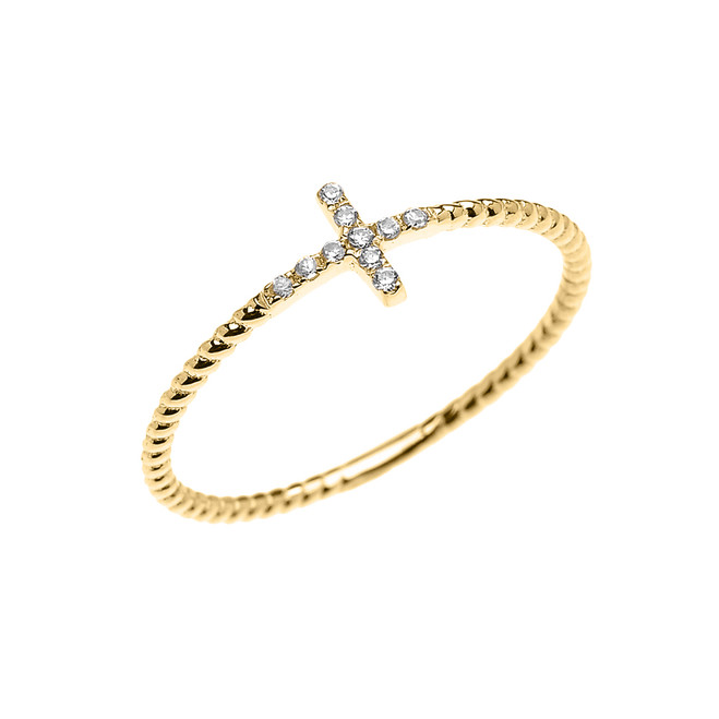 Yellow Gold Dainty Sideway Diamond Cross Rope Design Ring
