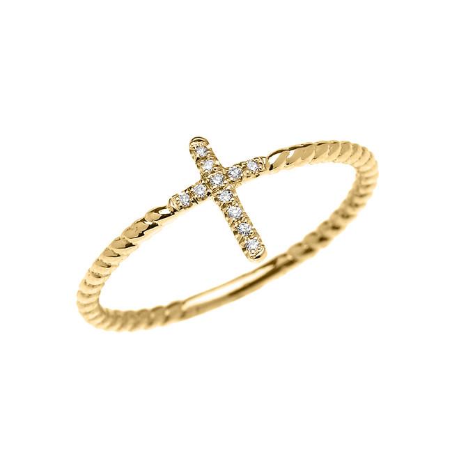 Yellow Gold Dainty Diamond Cross Rope Design Ring