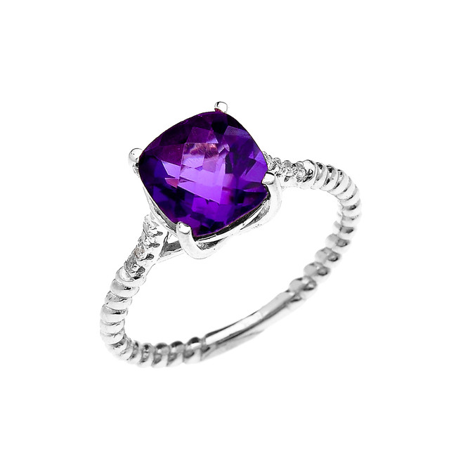 White Gold Dainty Solitaire 2 Carat Cushion Checkerboard Amethyst and Diamond Rope Design Engagement/Promise Ring