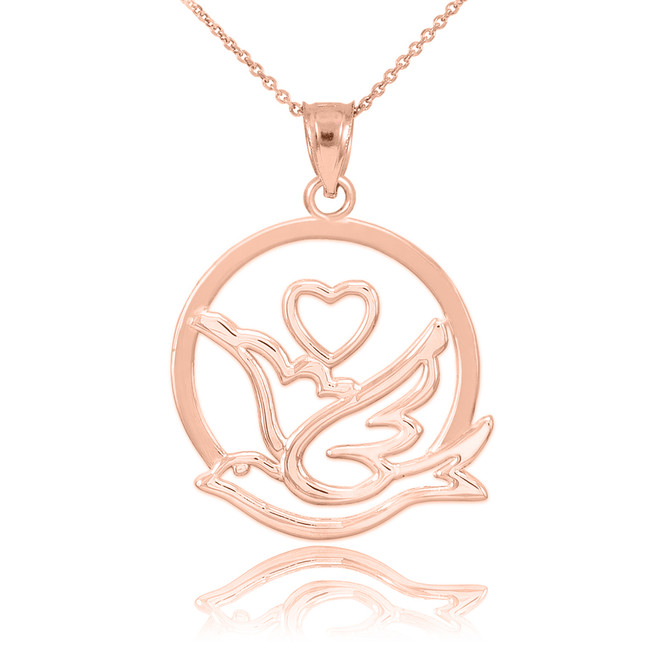 Rose Gold Love Dove with Heart Pendant Necklace